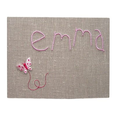 album photo personnalisable kid papillon lin naturel rose clair 60 pages tendre amour. Black Bedroom Furniture Sets. Home Design Ideas