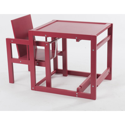 chaise haute cubic transformable en petit bureau coloris lucky red quax tendre amour. Black Bedroom Furniture Sets. Home Design Ideas