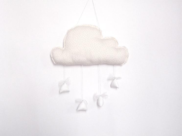 nuage de d coration rose poudr pois argent avec gouttes blanches noeuds tulle pm tendre amour. Black Bedroom Furniture Sets. Home Design Ideas