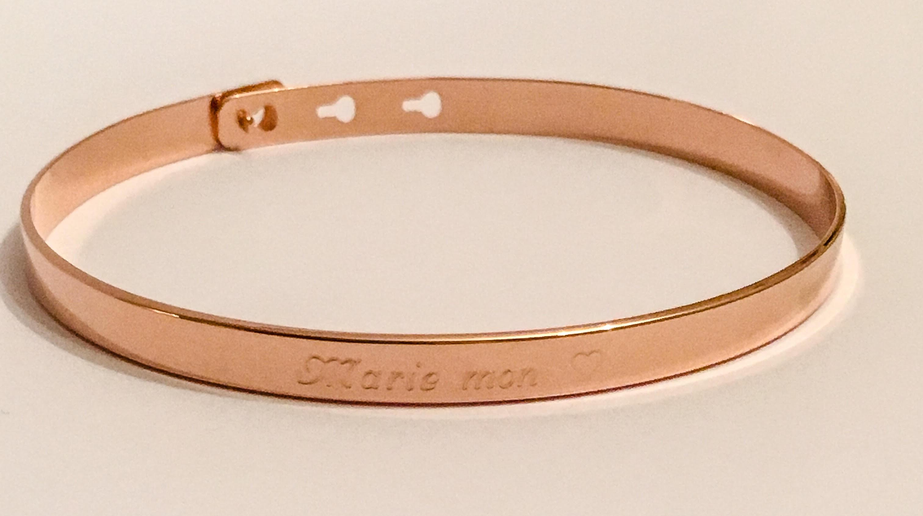bracelet jonc plaqu or rose femme gravure personnalis e tendre amour. Black Bedroom Furniture Sets. Home Design Ideas