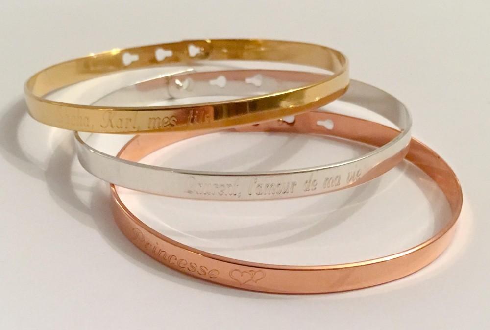 bracelets joncs trio femme gravure personnalis e tendre amour. Black Bedroom Furniture Sets. Home Design Ideas