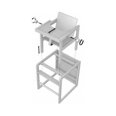 chaise haute cubic transformable en petit bureau coloris grisato quax tendre amour. Black Bedroom Furniture Sets. Home Design Ideas